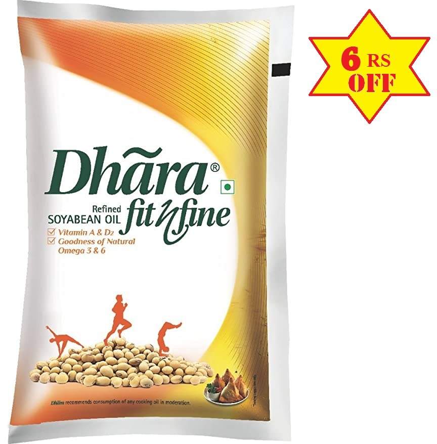 Dhara Refined Soyabean Oil Pouch 1L